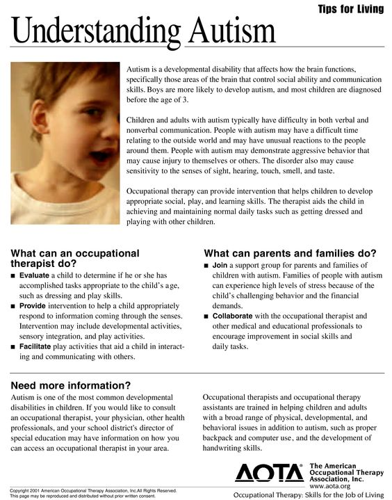 Autism / This autism information sheet provides insight as to what occupational therapy and family support can do for a child with autism.