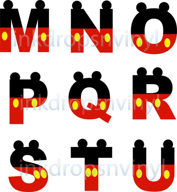 Mickey Mouse Inspired Letters and Numbers Red with Yellow Buttons Full ...