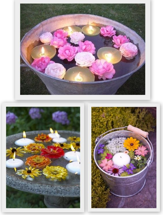 Outdoor floating candles and flowers: