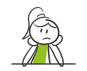 Stick Figure Series Green Woman / Nachdenken, überfordert, lustlos |  Strichzeichnung, Strichm, Skizze notizen