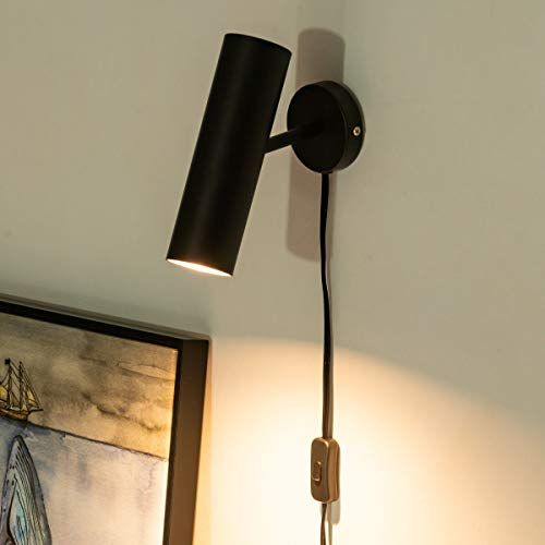 Modern Plug In Wall Sconce Minimal Swivel Wall Lamp Lighting Matte Black Wall Sconce With Switch Cord For Bedroom In 2020 Black Wall Sconce Wall Lamp Black Wall Lamps