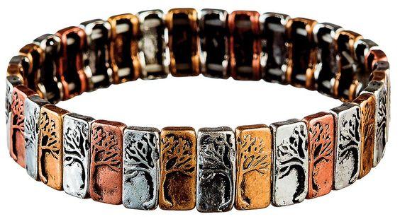 Multi Metal Silver Half N Half Tree Bracelet