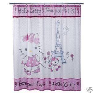 Bonjour Paris Hello Kitty Fabric Curtain w/ Rhinestones & Terrycloth Accenta