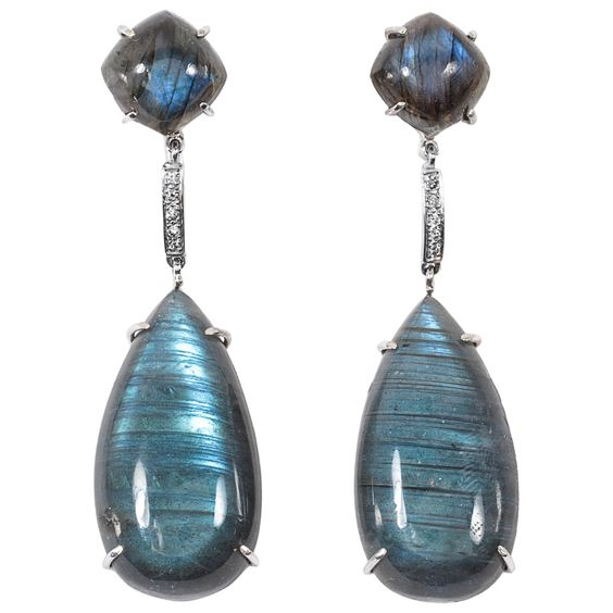 Labradorite White Gold drop Earrings | From a unique collection of vintage dangle earrings at http://www.1stdibs.com/jewelry/earrings/dangle-earrings/