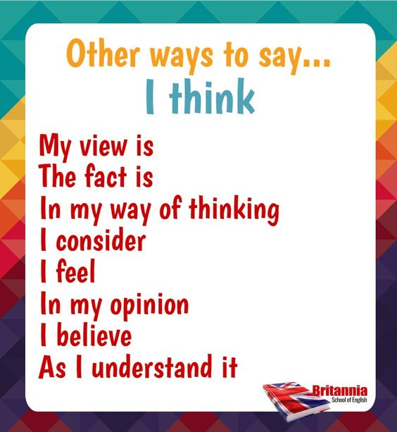 Other ways to say: I think: