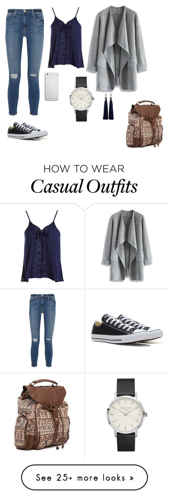 """""""Casual"""" by luciaaguirremartinez on Polyvore featuring Frame Denim, Sans Souci, Chicwish, Native Union, Billabong, Converse and Lanvin"""