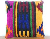 turkish pillows by Decolic Turkish kilim pillow Pink yellow black navy green orange colors a pretty kilim pillow for shabby chic home decor