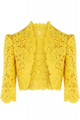 yellow lace jacket. Wow!! Maybe this beauty cud be worn to a wedding?!