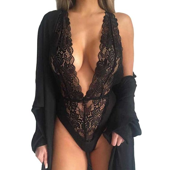 Hot New Women Sexy Deep V Neck Lace Lingerie Sleepwear Dress Underwear Babydoll Nightgown Black nightdress chemise de nuit Z1: