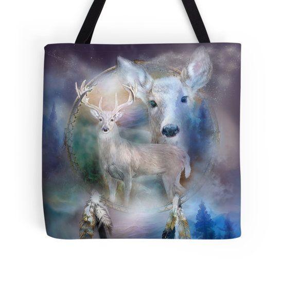 Dream Catcher - Spirit Of The White Deer designer tote bag featuring the art of Carol Cavalaris.