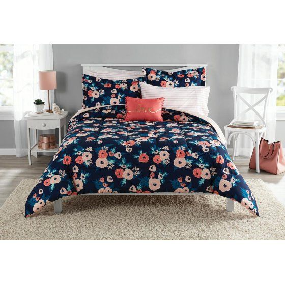 Mainstays Garden Floral Bed In A Bag Bedding Twin Twin Xl Walmart Com Floral Comforter Sets Bed In A Bag Bed Comforters