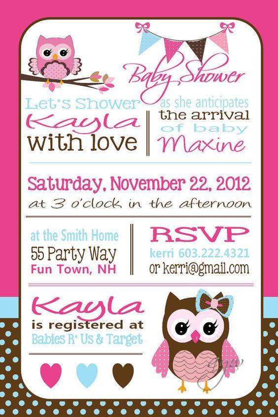 Owl Baby Shower Invitation Owl Bunting por AsYouWishCreations4u
