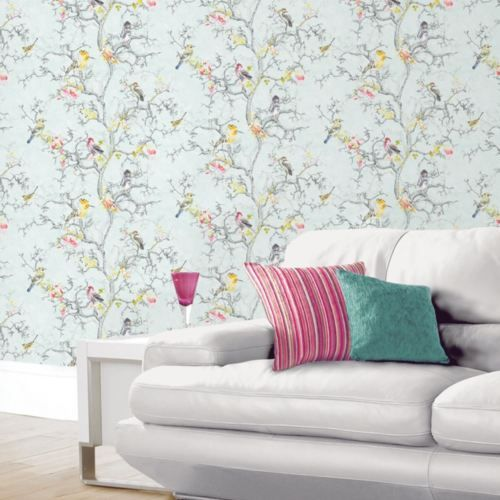 Ornithology Birds Wallpaper Blue Holden 98061 Floral Feature Wall New With Images Bird Wallpaper Metallic Wallpaper Blue Wallpapers