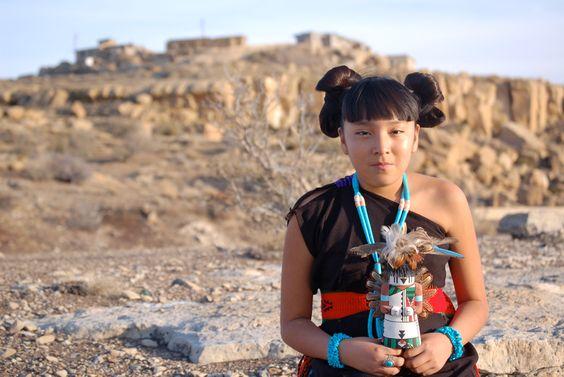 Kaylen Sue Lomayestewa (Hopi) with Katsina.