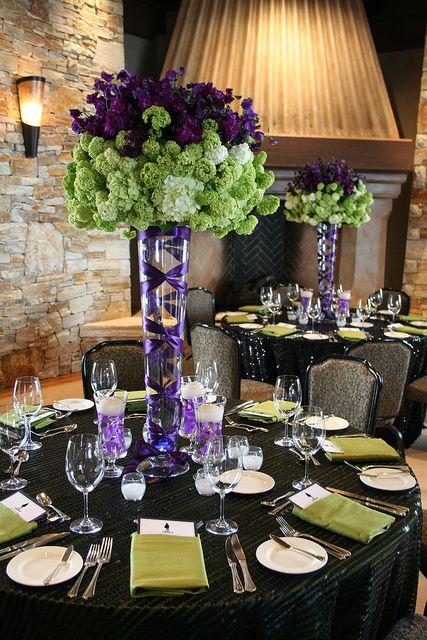 Tall centerpiece elegant dinner color blocking purple