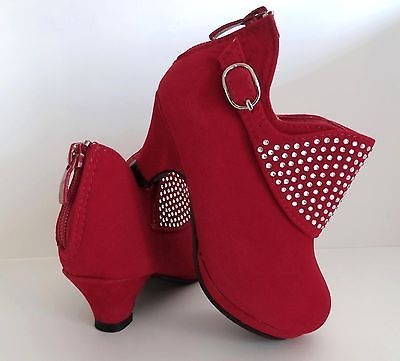 Details about New Girls Red Pageant Low Heel Platform Dress Ankle ...