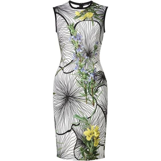 Yigal Azrouel floral print sheath dress (€1.175) ❤ liked on Polyvore featuring dresses, white, multicolored dress, floral print sheath dress, white sheath dress, multicolor dress and flower pattern dress