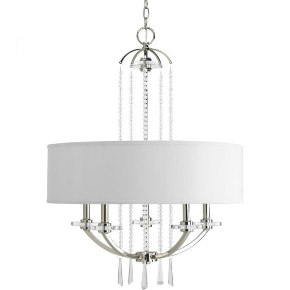 Progress Lighting 5-light drum shade pendant in a polished silver finish with a white fabric shade and crystal accents. Reg. Price 1016.60 Our Price $570.51