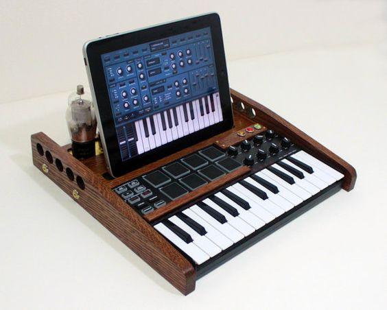 iPad Tablet MUSIC Workstation - MIDI Keyboard Pads And Knobs  - Tube Model Steampunk - Oak -  Music Making Machine