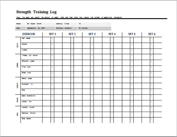 daily strength training log template at word-documents - decision log template