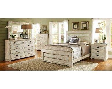 6 piece queen slat bedroom distressed white sam levitz for Distressed white queen bedroom set