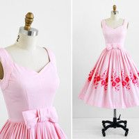 Garden party dress / Pink Cotton Pique Party Dress with Embroidered Pink Flowers