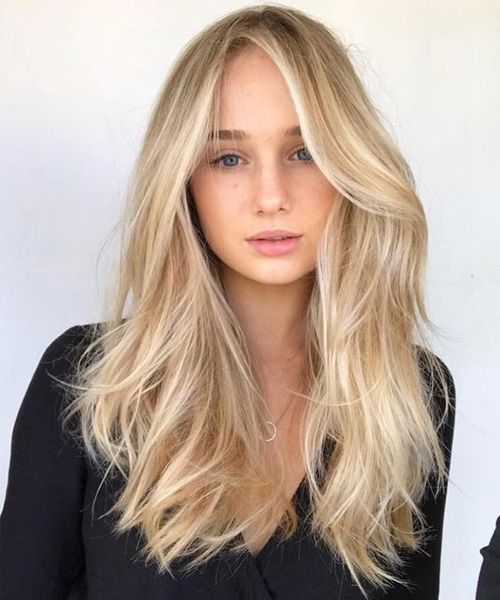 Easy Centre Parted Long Blonde Hairstyles For Women Vogue Ideas Warm Blonde Hair Blonde Hair Looks Blonde Hair Shades