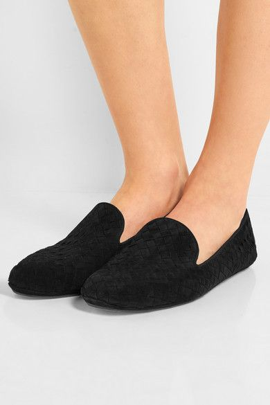 Slight heel Black suede Slip on Made in ItalyLarge to size. See Size & Fit notes.