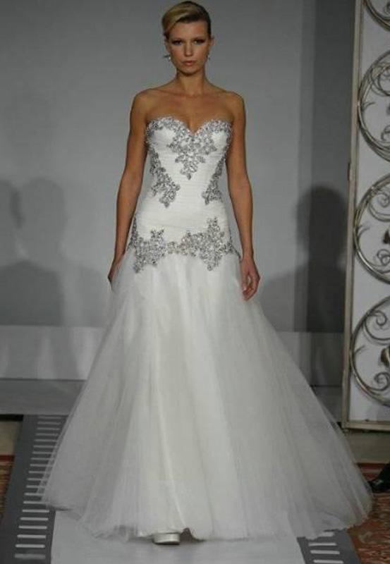 2015 New Pnina Tornai Wedding Dress Vintage A Line Sweetheart Bling Crystals Sequins Tulle La Pnina Tornai Wedding Dress Sweetheart Bridal Gown Wedding Dresses