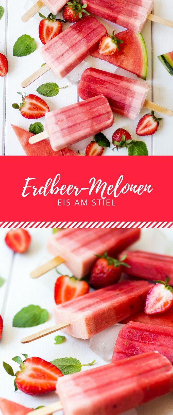 Erdbeer-Melonen-Eis am Stiel. So erfrischend schmeckt der Sommer mit diesem einfachen Rezept!