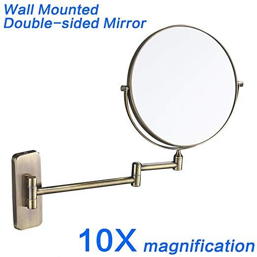 Gurun 8 Inch Double Sided Wall Mount Makeup Mirrors With 10x Magnification Antique Brass Finished M1406k 8 Inch10magnification Review Wall Mounted Makeup Mirror Makeup Mirrors Makeup Mirror