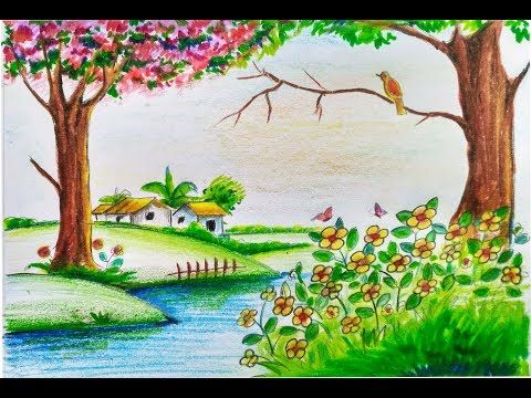 how to draw scenery of beautiful spring season step by step    easy    for kids - YouTube,   Nature drawing, Scenery drawing for kids, Drawing scenery