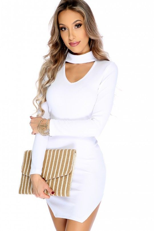Sexy White Long Sleeves Cutout Party Dress: