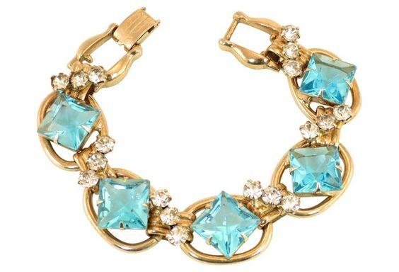 Juliana Aqua Square Crystal Bracelet