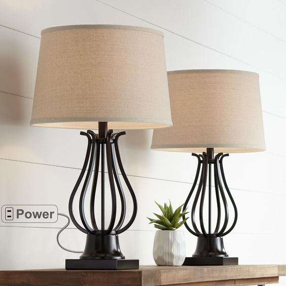 Hadley Bronze Metal Table Lamps Set Of 2 Metal Table Lamps Table Lamp Sets Modern Table Lamp