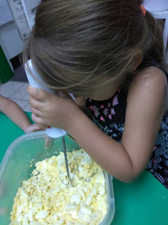 E if for Eggs!  Have your kids work together to make their own egg salad! Funny, and tasty!