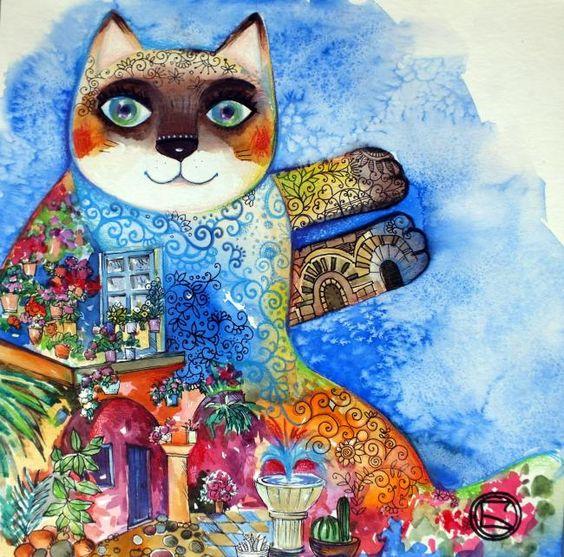 Chat   Andalou - Painting,  30x30 cm ©2012 von Oxana Zaika -  Malerei
