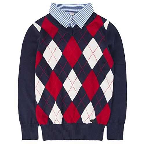 Benito /& Benita Boys Argyle Sweater Plaid Holiday Knit Pullover Outfits School Uniform Tops Long Sleeve