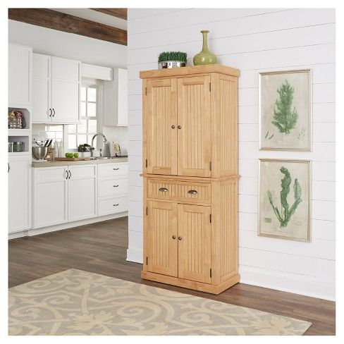 Nantucket Kitchen Storage Pantry Natural Home Styles Home Styles Pantry Cabinet Adjustable Shelving