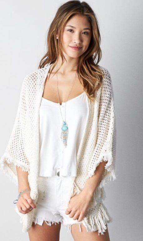 American Eagle Outfitters White Cream Fringe Crochet Knit Open Kimono Cardigan