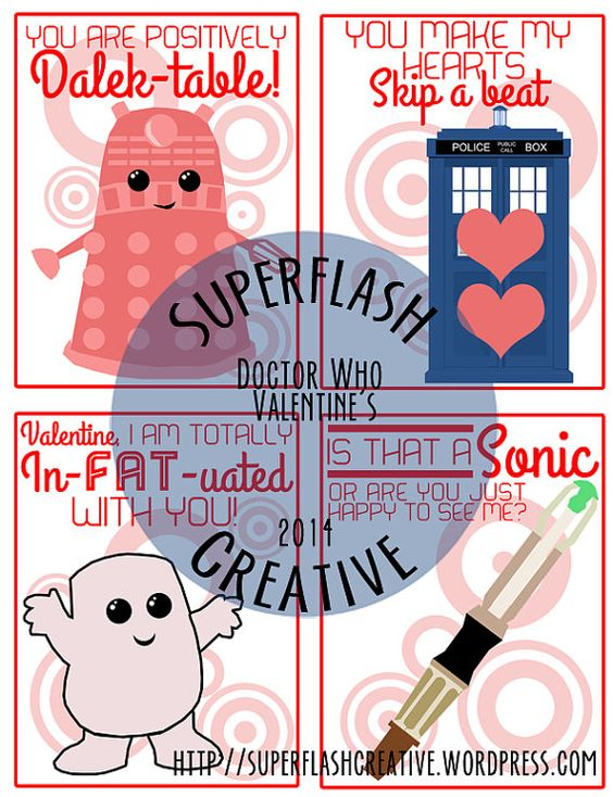 doctor who printable valentines day cards by