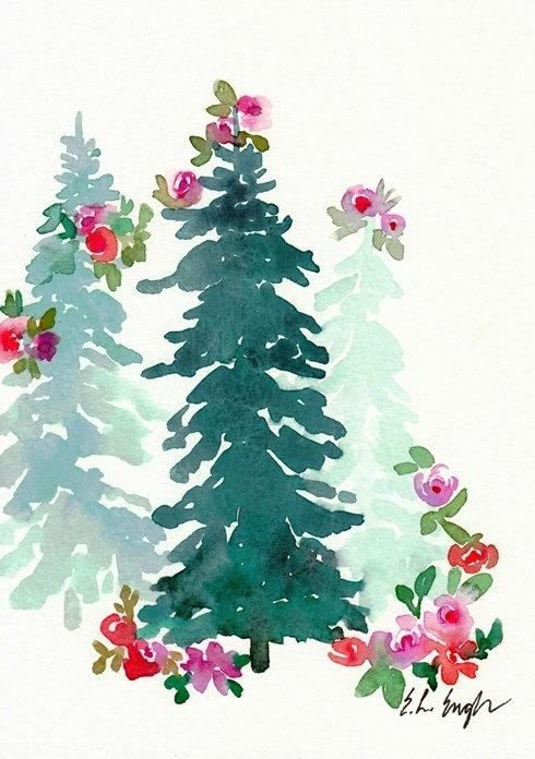 Watercolor Floral Christmas Trees Original Watercolor Christmas