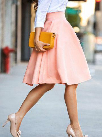 High Waist Solid Color OL Style Fashion Midi Skirt
