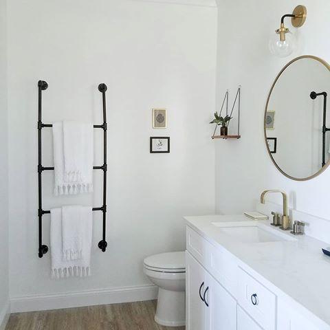 Simple Elegance Ladder And Shelf Above Toilet Trendy Bathroom Black Towels Black Bathroom