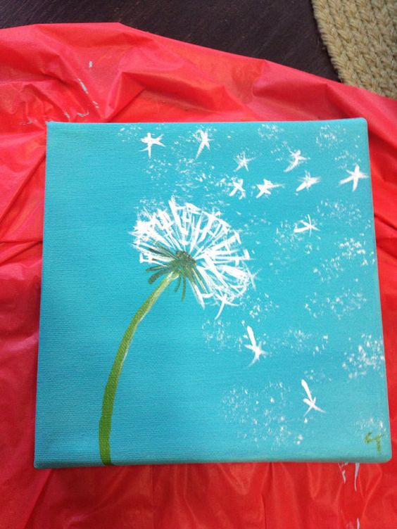 Dandelion painting 6x6 acrylic on canvas on etsy for Back painting ideas easy