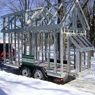 Naked cabins from tiny green cabins in mn you get the for Steel frame cabin
