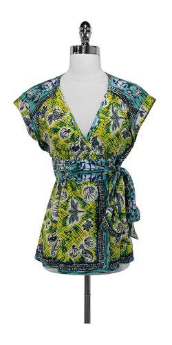 Nanette Lepore Teal & Yellow Print Silk Wrap Shirt