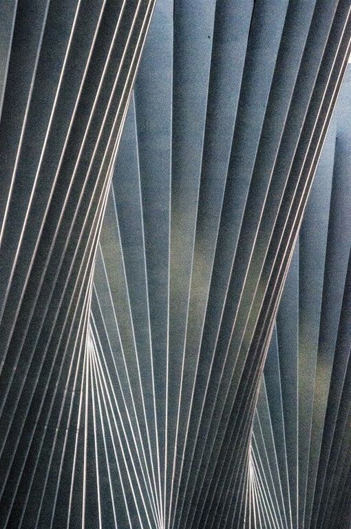 This is the front of the Mediopadana railway station in Reggio Emilia, Italy. It is foreshortened in the picture. The architect/engineer is Santiago Calatrava of Spain. Check Google for pics of his other spectacular work. The photo was taken by Antonella Sacconi. Prints can be purchased on her fotoblur page. While the picture looks gray, you are actually looking at steel painted white. Enjoy.