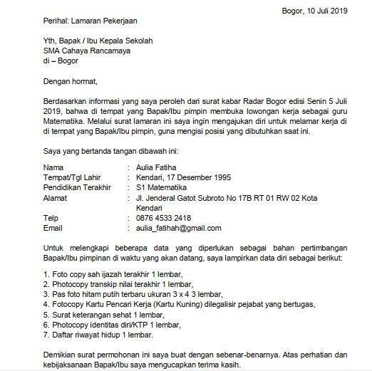 2 Contoh Surat Lamaran Kerja Guru Sma Berdasarkan Informasi Dari Koran Guru Surat Kepala Sekolah