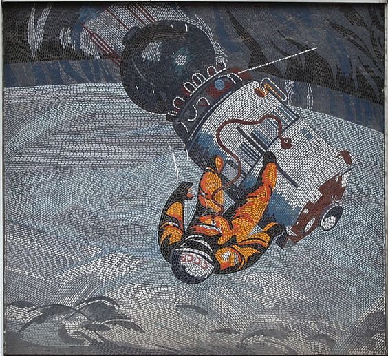 "Fritz Eisel, ""Der Mensch bezwingt den Kosmos,"" mosaic mural on the DVZ building, Potsdam, 1969."